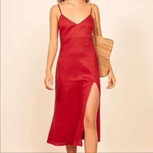 NWT Reformation Brianna Red Linen Midi Dress 12